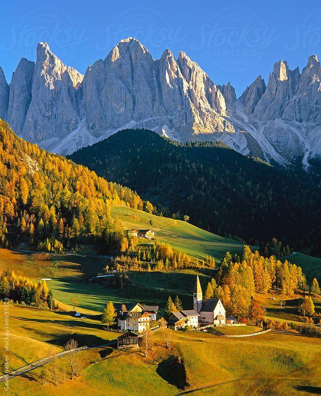 St. Magdalena village and church, Le Odle Group / Geisler Spitzen (3060m), Val di Funes, Italian Dolomites mountains, Trentino-Alto Adige, S...