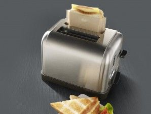 What an awesome idea!  No need to get more pans dirty with making grilled cheese sandwiches.  Just throw them in these Toastabags, pop them in the toaster or toaster oven, and voila!  No mess to clean up.  They're reusable and dishwasher safe.  Come in a set of 3.  - $13.72