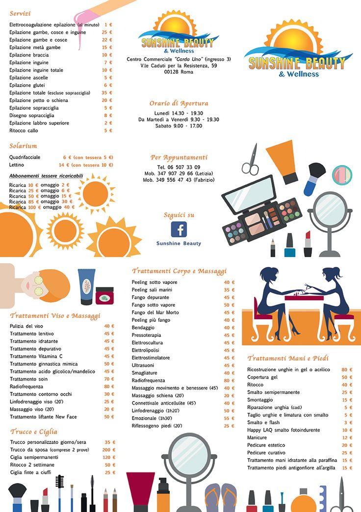 Brochure in/out Sunshine Beauty, Centro Estetico