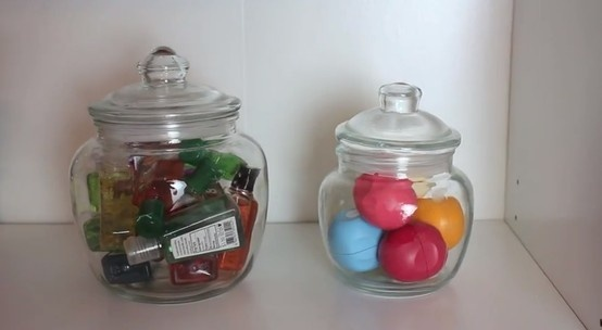 Candy Jar Storage! These jars keep you from keeping those junk drawers that we all have and all those random little things lying around in you bedroom. #macbarbie07