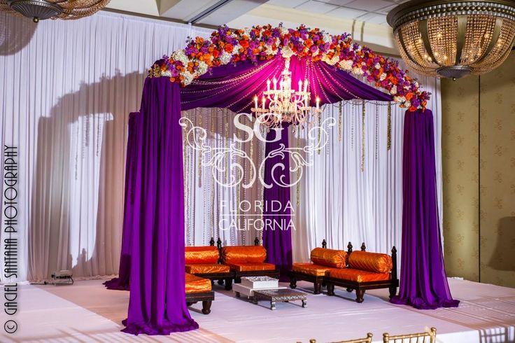 Florida Indian Wedding Decorator, California Indian Wedding Decorator, Purple Chiffon Mandap, Outdoor Indian Wedding Decorator, Suhaag Garden, Aisle Floral Scrolls, Jasmine Garlands
