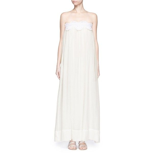 lila.eugenie Macramé lace cotton-silk maxi dress (1,315 MYR) ❤ liked on Polyvore featuring dresses, white, white silk dress, striped dress, lacy white dress, lace maxi dress and stripe maxi dress