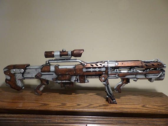 This Epic Nerf gun can be an amazing addition to any costume, the best steampunk gift, a toy, or as the most awesome gun in a Nerf battle. Attached to the gun is a Nerf scope, a dart cartridge, and an adjustable stand.  3 feet long 13 inches tall