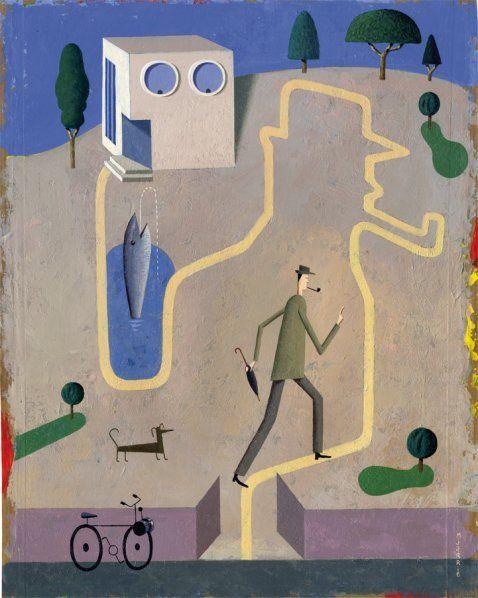 Martin Jarrie. Mon Oncle (Jacques TATI). Exposition « Hommage à Tati » à la galerie Petits Papiers Paris ( octobre-novembre 2012)