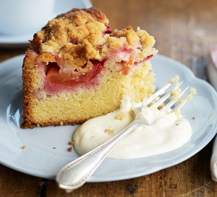 Plum crumble cake: This sumptuous seasonal bake is topped with halved plums or apricots and a buttery crumble topping - serve as a pudding or cake