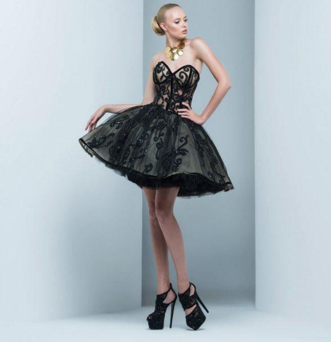siyah prenses etekli balo elbiseleri 2016