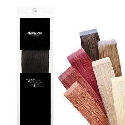 Desinas® Tape Extensions - Echthaar für Haarverlängerung, indisch, europäisch (40cm, dunkelbraun #1B)
