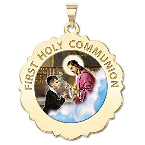 First Holy Communion Scalloped Round Religious Medal (Boy) Color - Available in 3 Sizes. Available in 3 Sizes. 17mm - size of a US dime, 19mm - size of a US nickel, 25mm - size of a US quarter. Made in the USA. All Medals are Solid 14k or .925 Sterling Silver. Free Jewelry Gift Box. Chain NOT Included. Ships in one day.