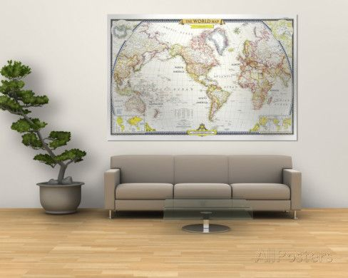 1951 World Map Wall Mural - at AllPosters.com.au