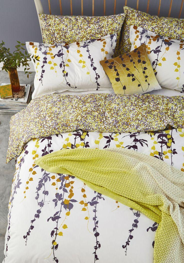 A pretty trailing leaf design bedding set designed by Clarissa Hulse by Harlequin.