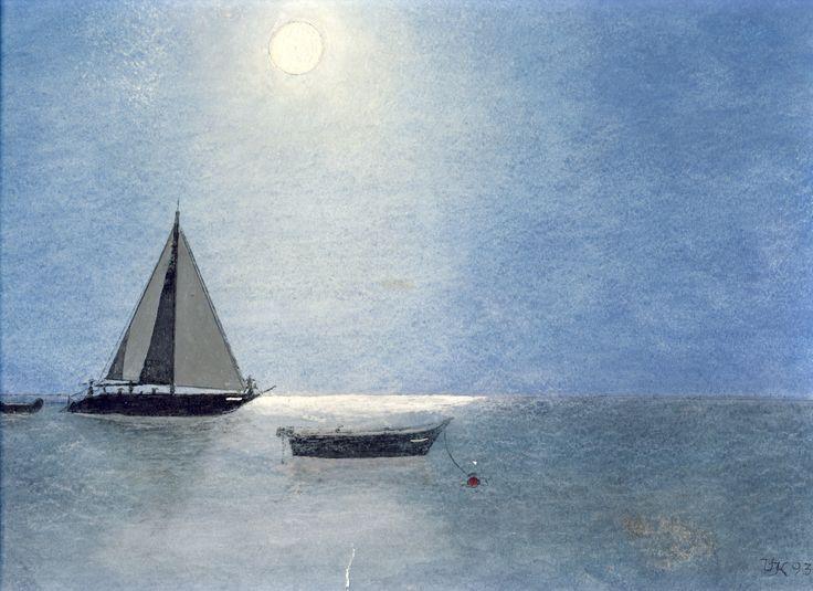 Segelboote im Mondlicht, U. Kretschmer