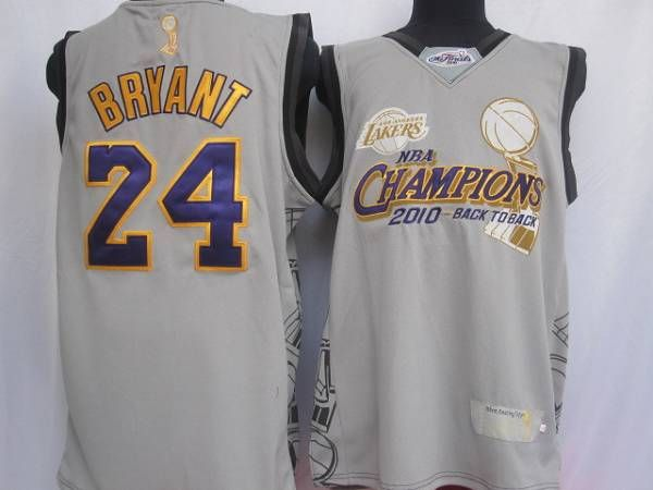 Lakers #24 Kobe Bryant Grey 2010 NBA Finals Champions Embroidered NBA Jersey! Only $20.50USD