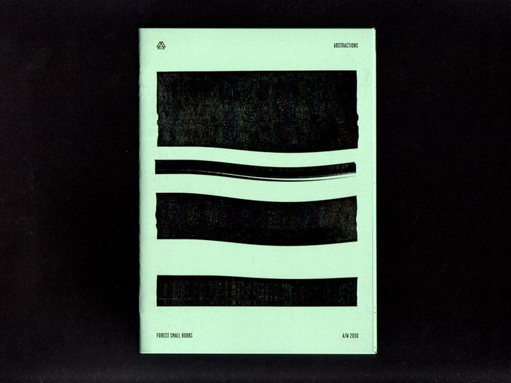 """Abstractions. 20 pages, 5"""" x 7"""", two colors, First Edition, 2008.  Printed on French's Pop-Tone Spearmint paper."""