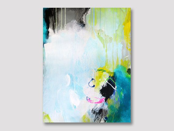 Original abstract painting on paper, acrylic painting, modern artwork, modern paper painting, white yellow turquoise painting, art on paper