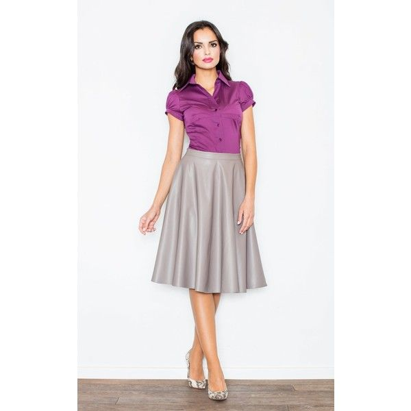 FIGL Aubergine Classic Short Sleeve Shirt (£20) ❤ liked on Polyvore featuring tops, neutral, shirt top, white shirt, white short sleeve top, short sleeve tops and short-sleeve shirt