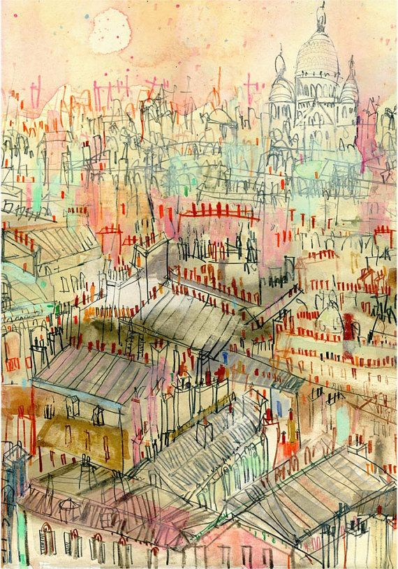 PARIS ROOFTOPS / Signed Print from watercolour painting /Sacre Coeur Montmartre…