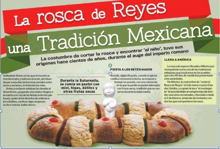 """Rosca de Reyes. The Navidad season officially ends Sunday (the 12 days of Christmas from 12/25 to 1/6 on Three Kings (Reyes Magos) Day. Still alive is the custom of cutting the """"rosca"""" a ring-shaped cake made with fruits and nuts. Hidden in the rosca somewhere is a small statue of the Baby Jesus. Whoever finds the status in their slice of rosca gets to host Candelaria on 2/2 which features hot chocolate, atole and tamales. (David Hayes-Bautista on Facebook)"""