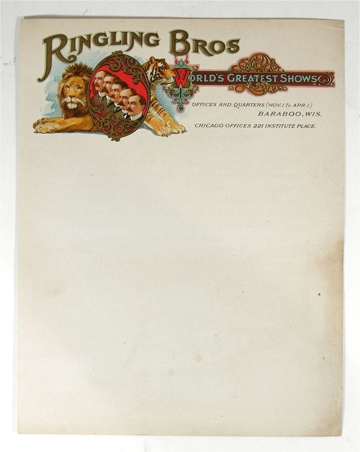 ca1911 RINGLING BROS CIRCUS CHROMO ILLUSTRATED ADVERTISING LETTERHEAD STATIONERY