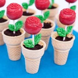 """Ice cream on bottom, stab cake pop in, cover in smashed Oreos for """"dirt"""", pipe icing on a red cake ball add sprinkles! They used fondant leaves, I guess you could use ribbon."""
