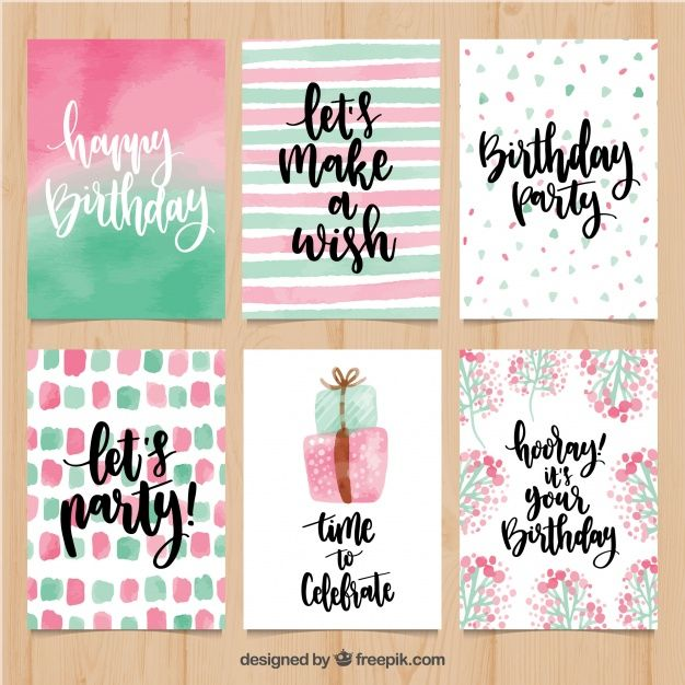 Pretty watercolor birthday greetings set Free Vect…