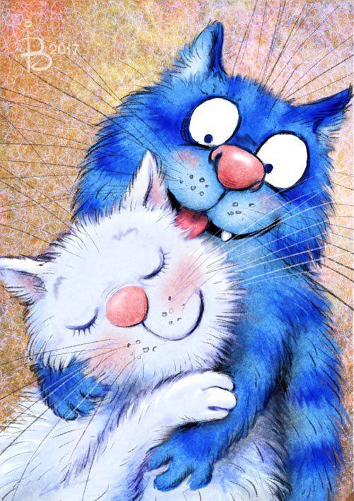 I just like this! Cute kitty illustration. Синие коты Рины Зенюк | ВКонтакте