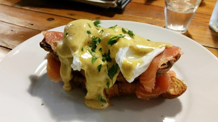EGGS BENEDICT WITH SMOKED SALMON ON TOASTED CROISSANT at Four Ate Five