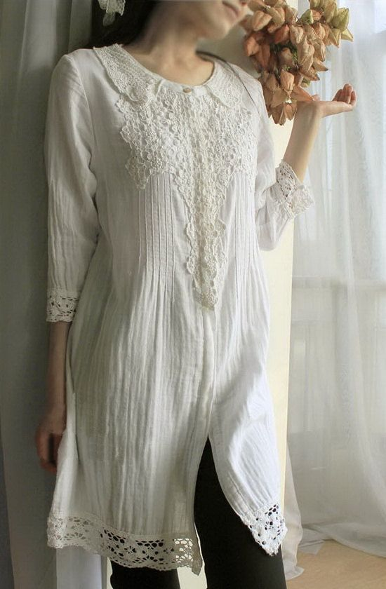 white, Collared Long tunic Shirt with lace and embroided detail