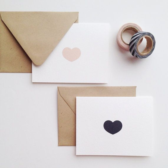 Little Heart Note Card Set by stationeryboutique on Etsy