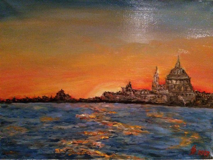 Венеция. Вид на Гранд Канал. Холст Масло.