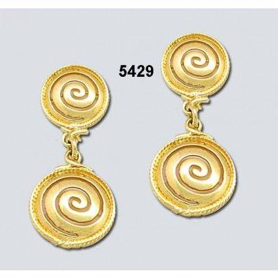 Σκουλαρίκια Καρφάκι 2 Σπείρες Χρυσά Κ14 Kallin - ΑρχαιοΕλληνικά - Σκουλαρίκια - Καρφίτσες - Παραμάνες - Κοσμήματα