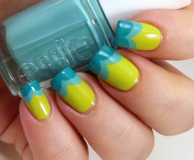 Amarelo com tons de azuis esverdeados