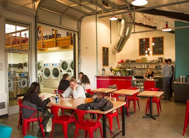 Spin Laundry Lounge - Cross laundry off your to-do list while you drink a microbrew, catch the Blazers or Timbers game, or work on your laptop (free WiFi) with a cup of Permanent Press Blend coffee, or even play a little shuffleboard.