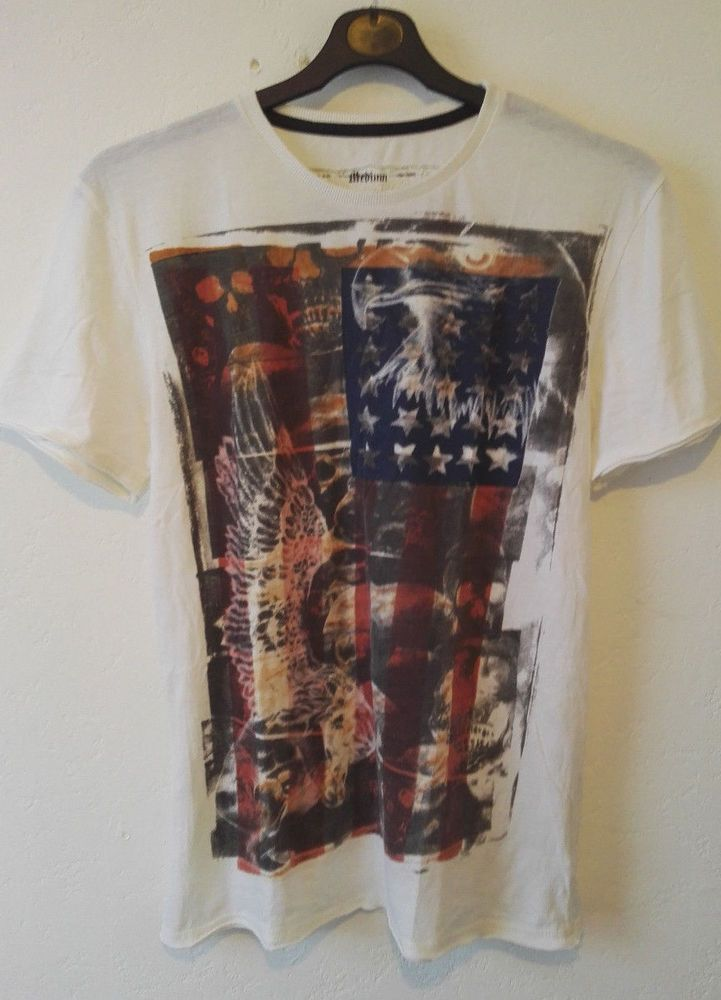 Amplified Mens American Flag Eagle Print Crew T Shirt White Size M NWOT
