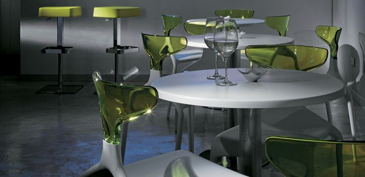 Green designer chairs for 3 and 4 stars design hotel and restaurant
