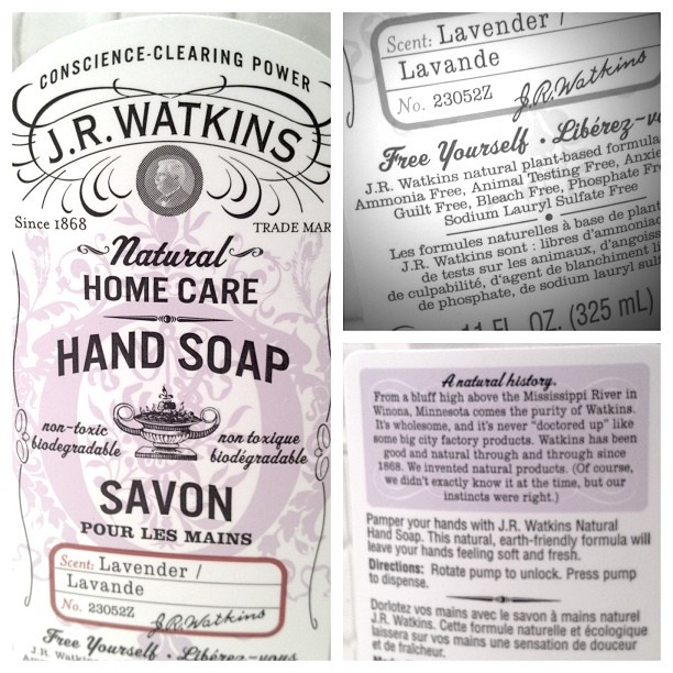 """J.R. Watkins Apothecary is a brand with a high Transparency value. Check out the phraseologie on the label for their Hand Soap: """"conscience-clearing,"""" """"natural,"""" """"wholesome,"""" """"free yourself,"""" """"never doctored-up,"""" """"instincts."""" 