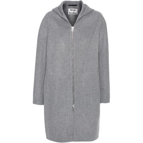 ACNE STUDIOS Emile Doublé Grey // Hooded wool cashmere coat ($740) ❤ liked on Polyvore featuring outerwear, coats, grey cashmere coat, acne studios, woolen coat, gray coat and grey wool coat