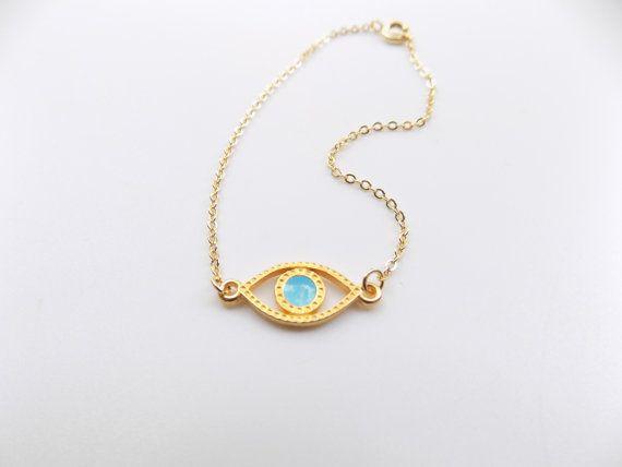 Gold Evil Eye Bracelet 14k Gold Filled Dainty by ArroseJewelry      #evileye #eyenecklace #eyebracelet #evileyebracelet