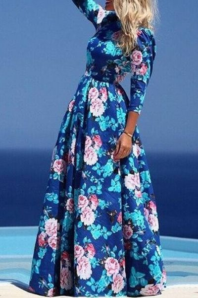 Dazzling Floral Print Pleated Maxi Dress# dazzling floral pattern# O neck# Three quarter sleeves# Pleated waist