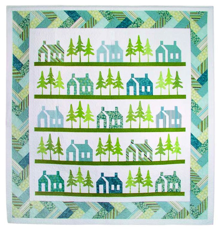 Braided Quilt Border Pattern Home : Studio Humble Homes pattern by Kay Gentry for AccuQuilt: appliqued houses and trees with a ...