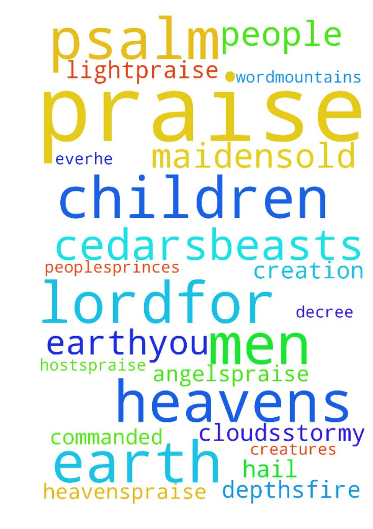 psalm 148 -  Psalm 148New King James Version NKJV Praise to the Lord from Creation 148Praise the Lord Praise the Lord from the heavens;Praise Him in the heights2Praise Him, all His angels;Praise Him, all His hosts3Praise Him, sun and moon;Praise Him, all you stars of light4Praise Him, you heavens of heavens,And you waters above the heavens 5Let them praise the name of the Lord,For He commanded and they were created.6He also established them forever and ever;He made a decree which shall not…