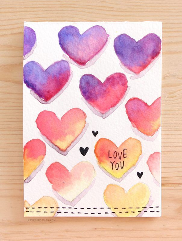 Hearts Watercolor Card A Handmade Valentine S Day Card Full Of