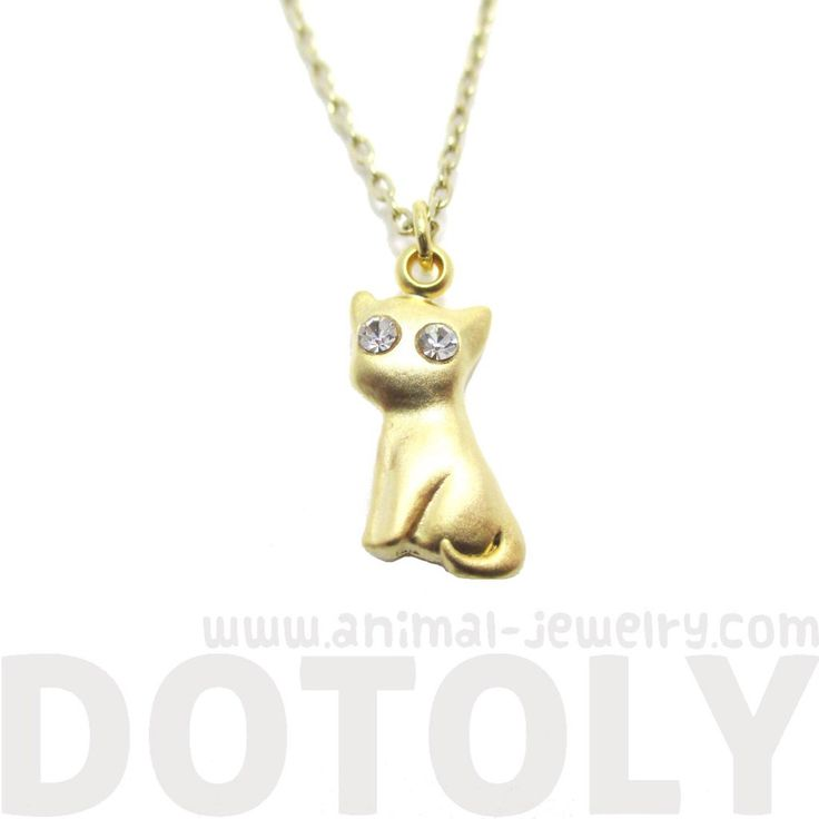 Kitty Cat Shaped Charm Necklace in Gold with Rhinestone $13 #kittens #cats #animals #jewelry #necklaces #cute