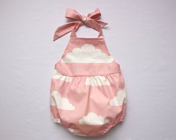Sale Pink Cloud Baby Girl Romper Baby Cloud Halter by lonymaids