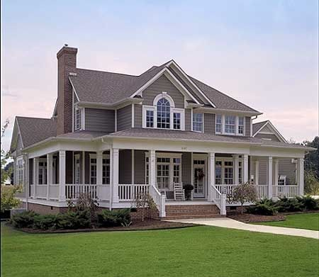 Love this farm house and wrap around porch!