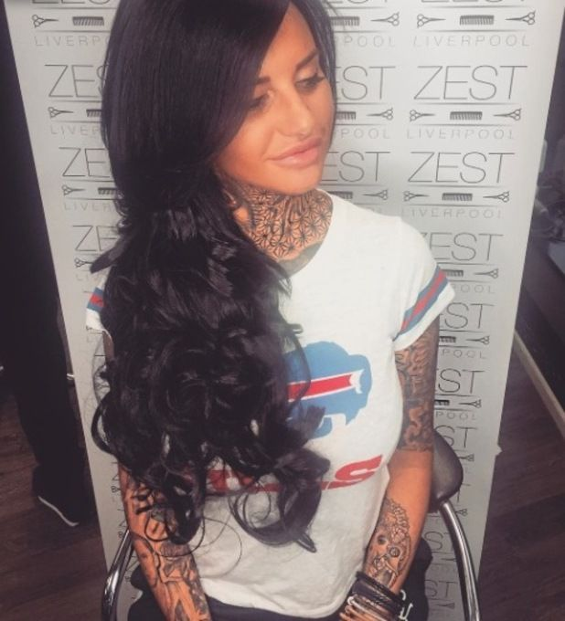 Ex On The Beach star Jemma Lucy gets long black hair extensions, 25 October 2016