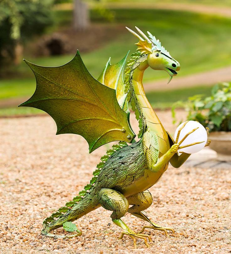 Green Dragon Garden Statue with Solar Globe | There Be ...