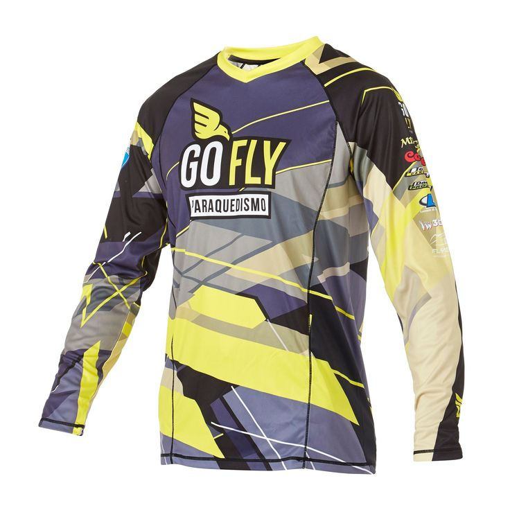Infinite Skydiving Jersey in Gold colorway — at Manufactory Apparel. — Products shown: Infinite Skydiving Jersey for GO FLY #customskydivingjerseys #getintoskydiving #skydive #jerseys