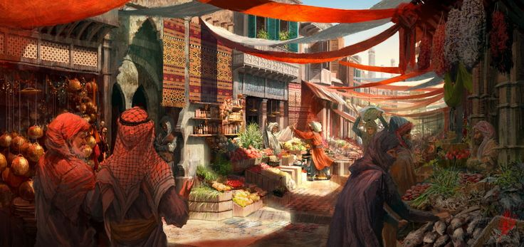 Arab Market, Hyunsu Cha on ArtStation at http://www.artstation.com/artwork/arab-market