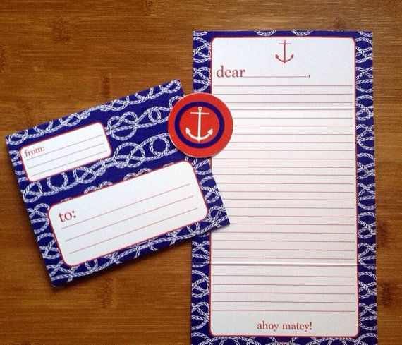 Preppy Red and Blue Anchor Nautical Camp Stationery for Boys Fold and Seal, $16.00