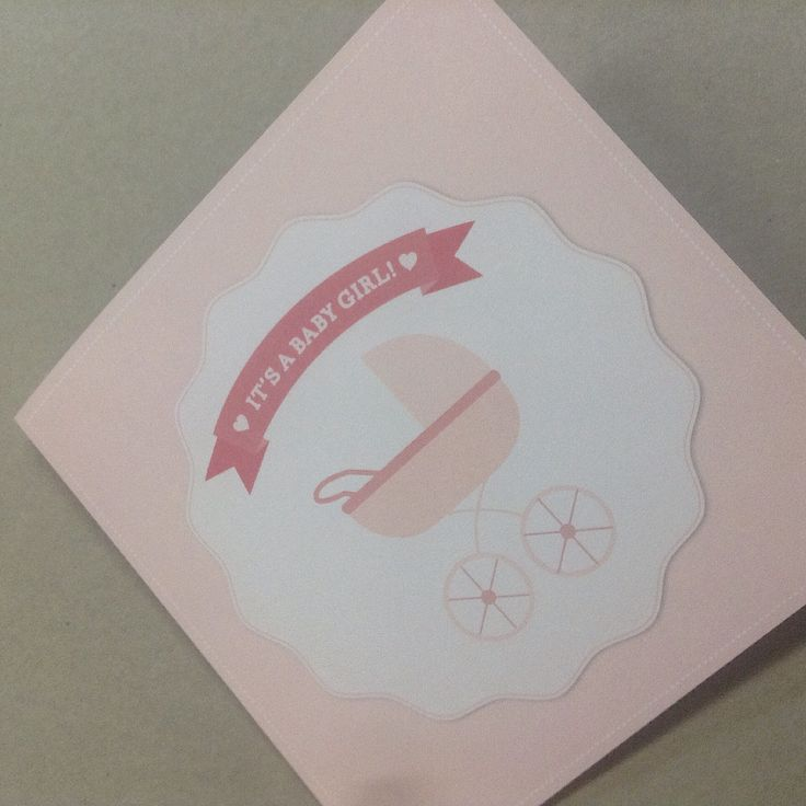 Custom designed Baby Shower greeting card in pale pinks xx